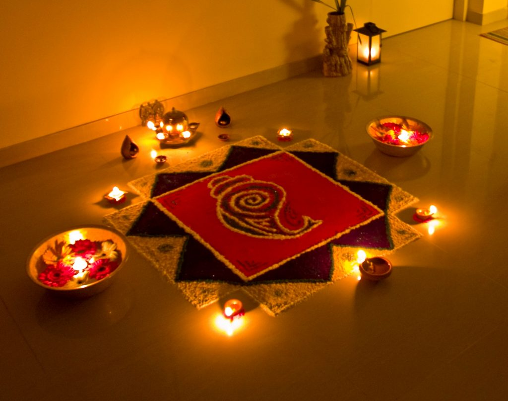 Rangoli during Diwali 2020 or Dipawali festival